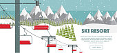 Ski resort, mountaineering adventure flat vector illustration. Ski hills panoramic background, winter leisure activities. Swiss Alps, green fir trees, snow hills winter background.