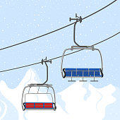 Ski resort vacation, ski lift. Winter outdoor holiday activity sport in alps, landscape with winter mountain view. Template for ski resort flyer advertising. Web banner background.