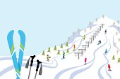 Vector illustration of Ski slope, Horizontal.