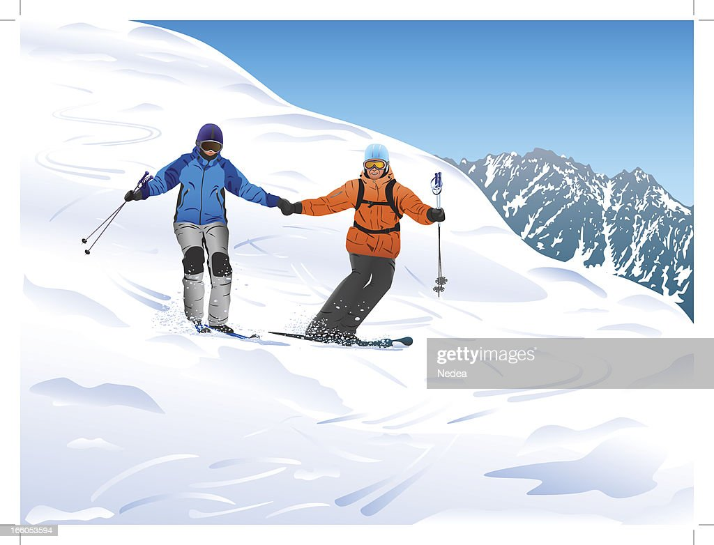 Skiers in the mountains : Vector Art