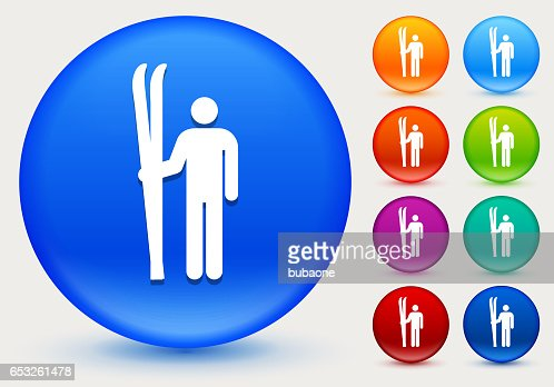Skiing Icon on Shiny Color Circle Buttons : Vector Art