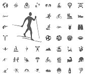 Skiing icon. Sport illustration vector set icons. Set of 48 sport icons