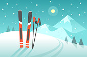 Vector illustration in trendy flat style with pair of skis on the snowy landscape background.