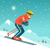 Vector illustration in trendy flat style with skier in red red sports suit skiing downhill on the snow mountains landscape background.