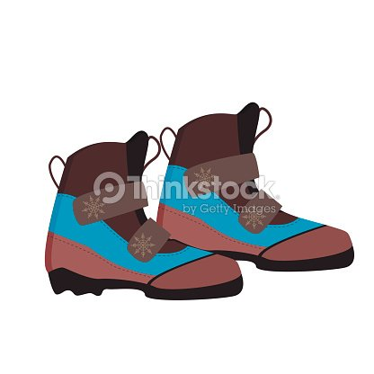 Skiing shoes winter sport equipment vector.