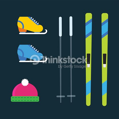 Skiing winter season equipment vector illustration sport clothes tools elements hat skates ski poles item equipment extreme lifestyle