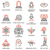Vector set of linear icons related to skills, empowerment leadership development, qualities of a leader and willpower. Mono line pictograms and infographics design elements - part 3