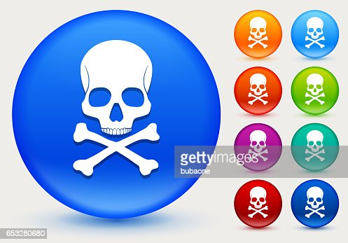 Skull and Bones Icon on Shiny Color Circle Buttons : Vectorkunst