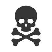 Skull and Crossbones Icon on White Background. Vector illustration
