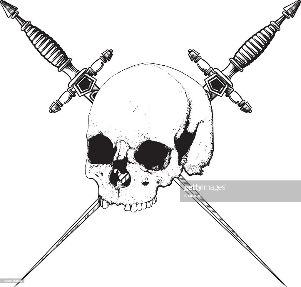 Skull and Dagger : Vector Art
