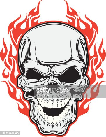 how to draw a skull with a flames
