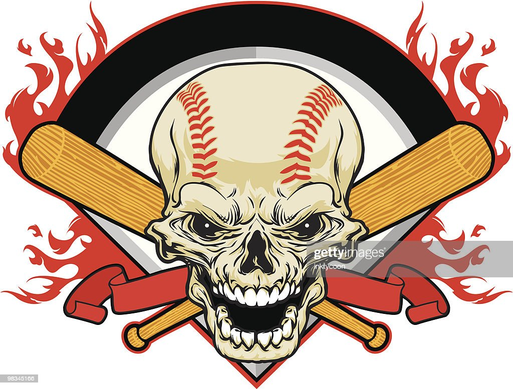 Skull Baseball : Vector Art