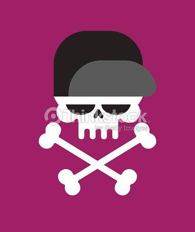 Calavera En La Gorra De Béisbol Aislada Cabeza De Esqueleto En ...