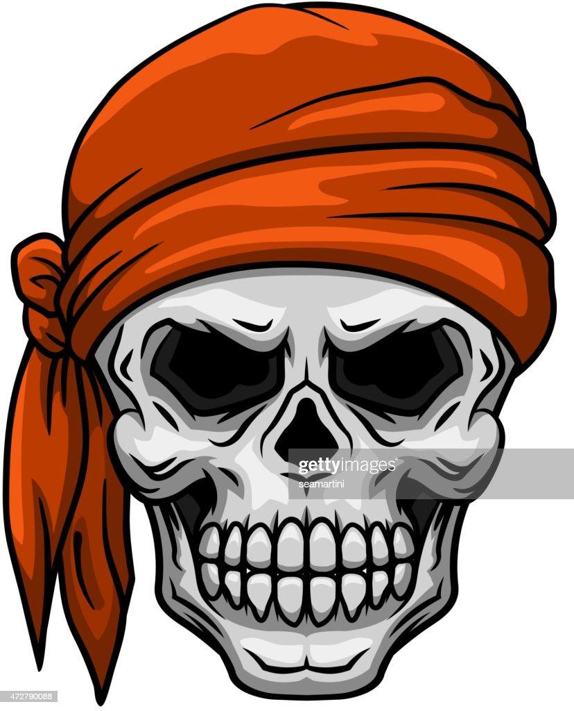skull in orange bandana vector art thinkstock rh thinkstockphotos com bandana vector art bandana vector free clipart