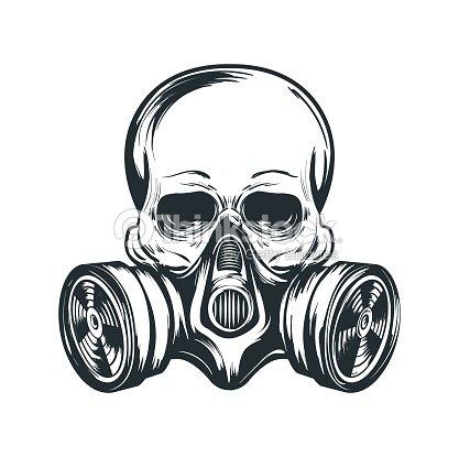 skull in respirator illustration toxicity emblem radiation sign can be used as tshirt print. Black Bedroom Furniture Sets. Home Design Ideas