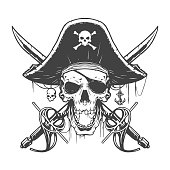 Skull pirate illustration in vector
