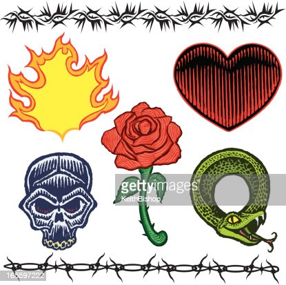 Skull Rose Heart Snake Barbed Wire Flame Tattoo Designs Vector Art ...