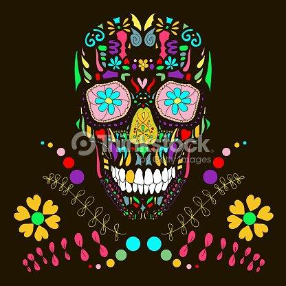 teschio con decorazione floreale 1vector illustrazione
