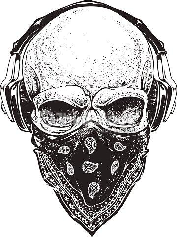 Skull With Headphones Stock Vector Thinkstock