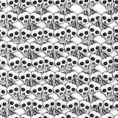 Skulls and bones. Vector hand drawn cute seamless pattern. Cartoon style.
