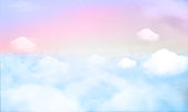 Pastel gradient blurred sky,sunset background. Soft focus sunshine bright peaceful morning summer. Rays light clean beach outdoor with abstract bokeh smooth. Open view relax landscape spring cloud.