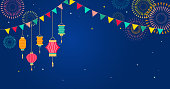 Sky Lantern Festival, Chinese, Thai flying lanterns. Poster and banner background