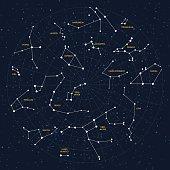 Vector sky map, constellations, stars, andromeda,lacerta, cygnus, lyra, hercules, draco, bootes, minor, major, lynx, auriga, camelopardalis, perseus, triangulum, cassiopeia, cepheus