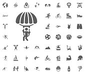 Skydiving icon. Sport illustration vector set icons. Set of 48 sport icons