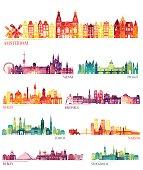 Skyline detailed silhouette set (Amsterdam, Vienna, Prague, Berlin, Brussels, Zurich, Warsaw, Dublin, Stockholm ). Vector illustration