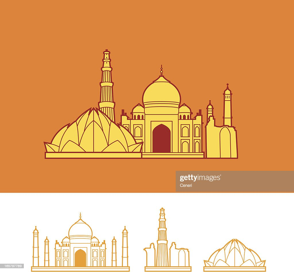 Line Drawing Of Qutub Minar : Skyline of india vector art getty images