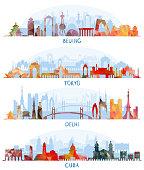 Vector illustration of Skyline detailed silhouette set (Beijing, Tokyo, New Delhi, Cuba)
