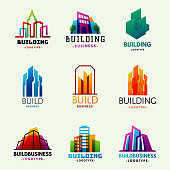 Skyscrapers buildings logo tower office label city architecture house badge business apartment vector illustration. Modern cityscape construction exterior urban downtown design.