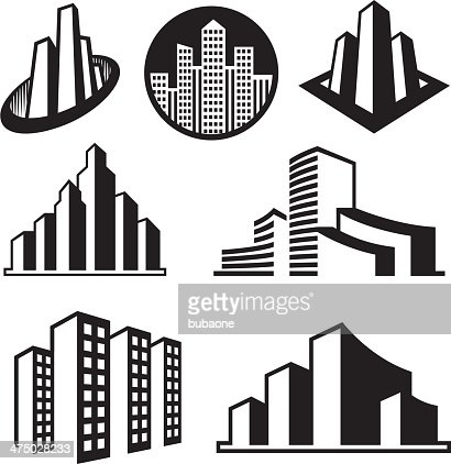 Skyscrapers On Black White Icon Set Vector Art | Getty Images