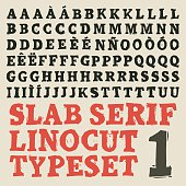 Home made slab serif linocut typeset