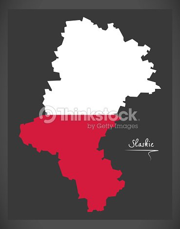slaskie map of poland with polish national flag illustration vector