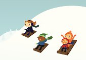 A vector illustration of a group of kids sledding outside in the snow. Each child is grouped together on a separate layer. Linear and radial gradients used. No meshes.