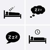 Sleep Icons set Vector. Bedtime icon