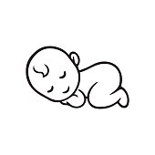 Sleeping baby silhouette, stylized line logo. Cute simple vector illustration.