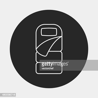 Sleeping bag line icon : Vector Art