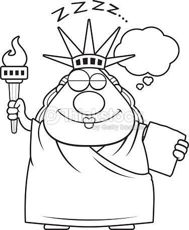 sleeping cartoon statue of liberty vector art