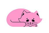 Sleeping cat pink isolated. kitten be asleep. sleep pet