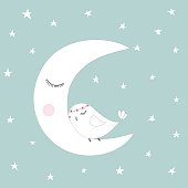 Sleeping half moon white cute bird blue night sky stars kids illustration room decoration, light pastel colors