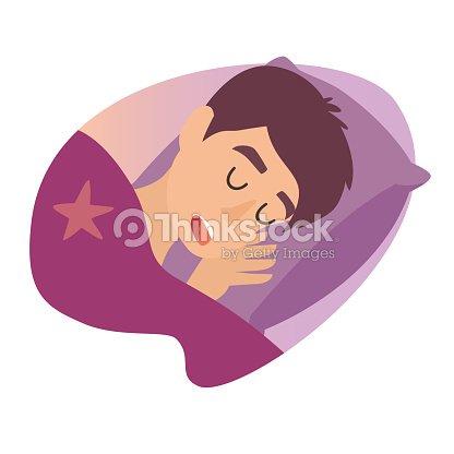 Schlafenden Mann Comic Junge Im Bett Cartoon Charakter Herren