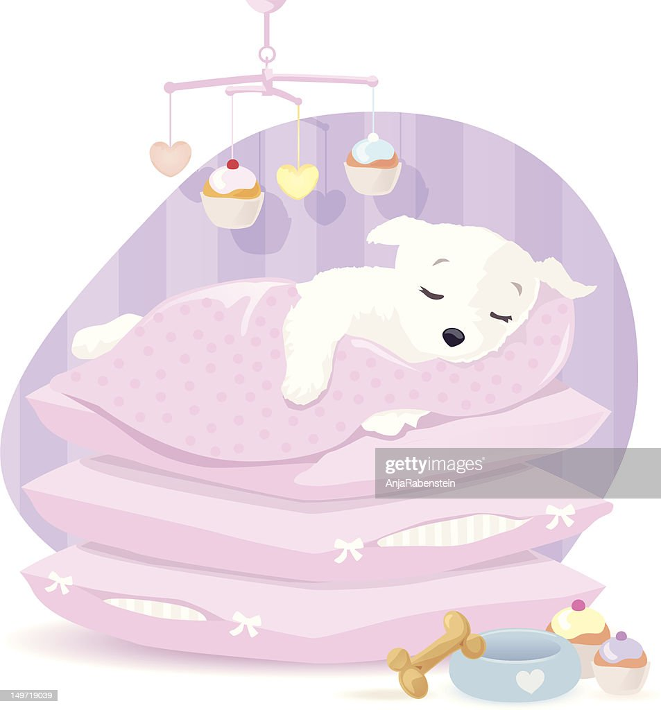 Sleeping Puppy : Vector Art