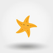 Sleeping smiling starfish. Icon for web and mobile application. Vector illustration on a white background. Flat design style
