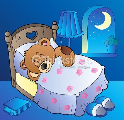 Schlafen teddyb r im schlafzimmer vektorgrafik thinkstock for Schlafzimmer bild a ber bett