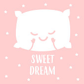 sleeping white pillow, isolated on pink background. vector illustration