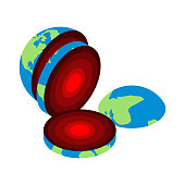 Slice of earth. Core Center of planet. Structure of earths crust. Internal layers in section