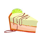 Slice of key lime cake with peanut vector illustration. Cake, sweet food, bakery. Dessert concept. Vector illustration can be used for topics like food, confectionary, unhealthy eating