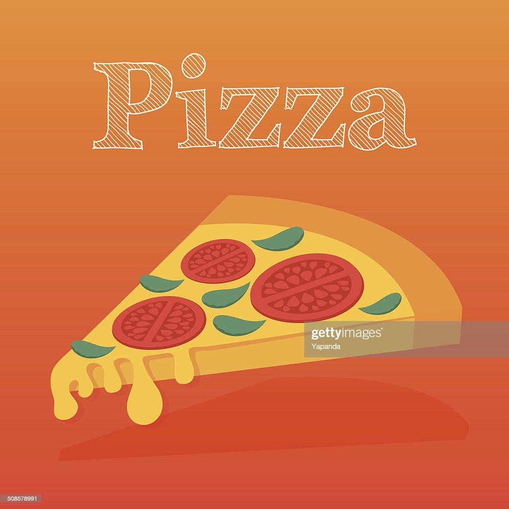 Slice of pizza margarita. Flat vector illustration. : Vectorkunst